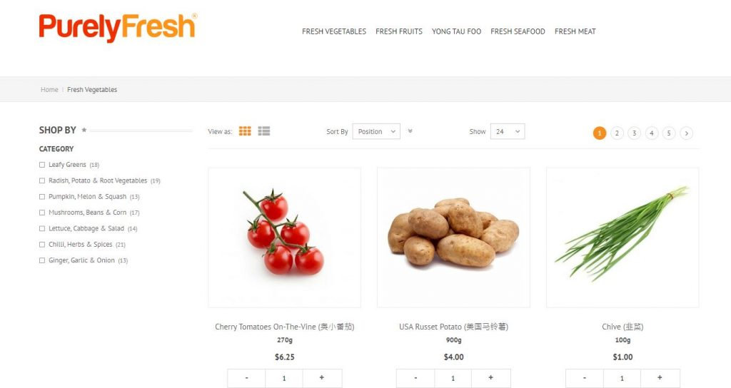 Purely Fresh item selection