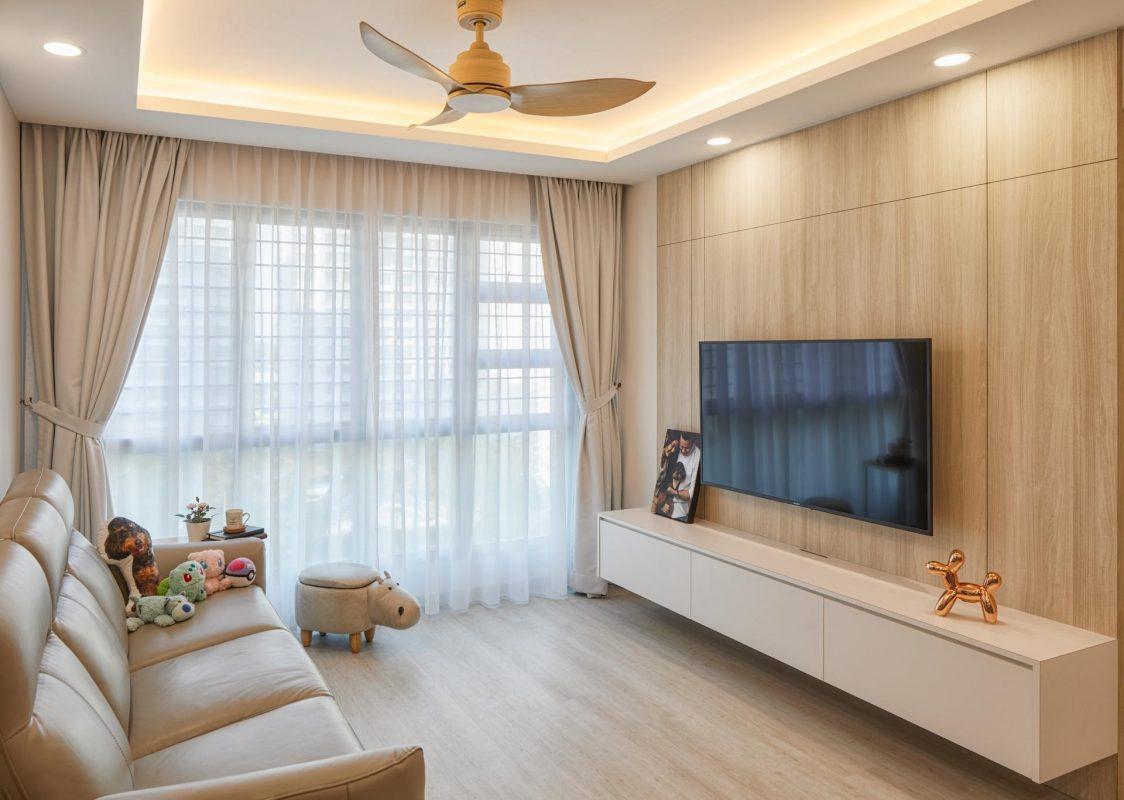 Beach blonde wood panels and flooring living room