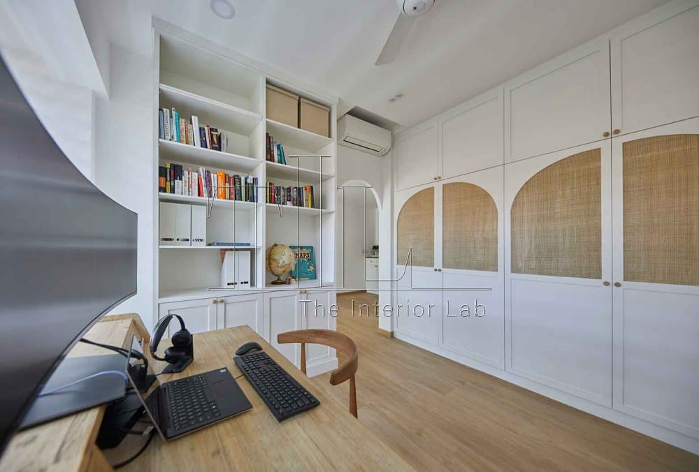 wooden dining area and shelves