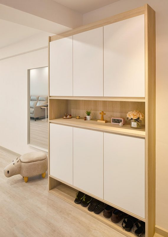 Maple coloured shoe and storage cabinet