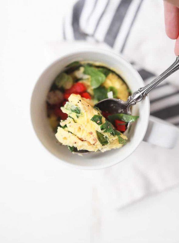 Egg Omelette In A Mug on spoon
