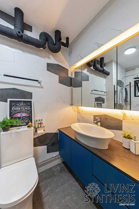 Livinz Synthesis built-in shelves and mirror cabinets for bathroom