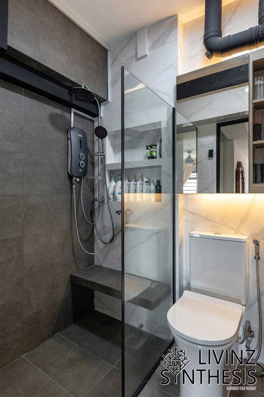 Livinz Synthesis marble wall and concrete design bathroom