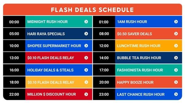 shopee flash sales schedule